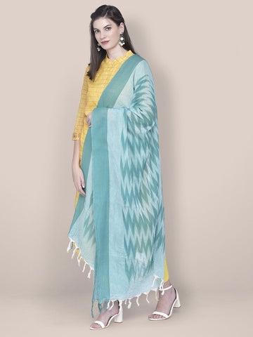 Dupatta Bazaar Woman's Sea Blue Cotton Ikat Dupatta