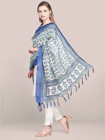 Dupatta Bazaar Women's Printed Blue & Green Art Silk Dupatta