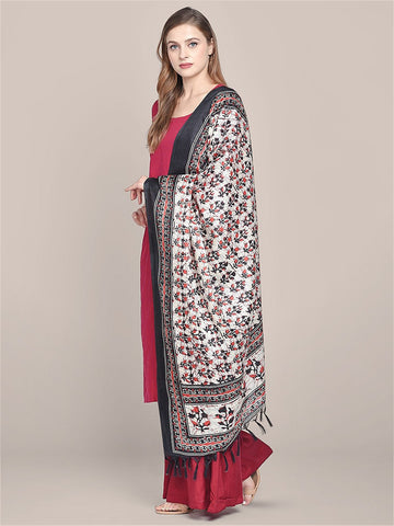 Dupatta Bazaar Women's Printed Black & Red Art Silk Dupatta