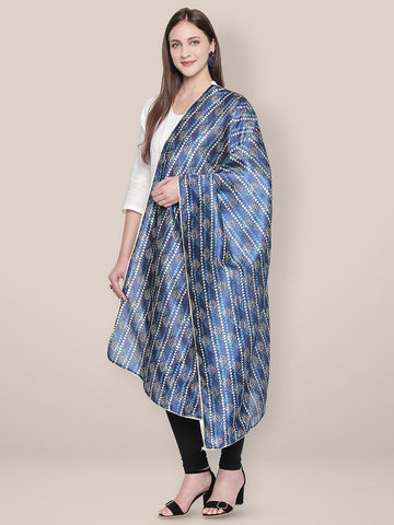 Dupatta Bazaar Woman's Indigo Printed Art Silk Dupatta with lace