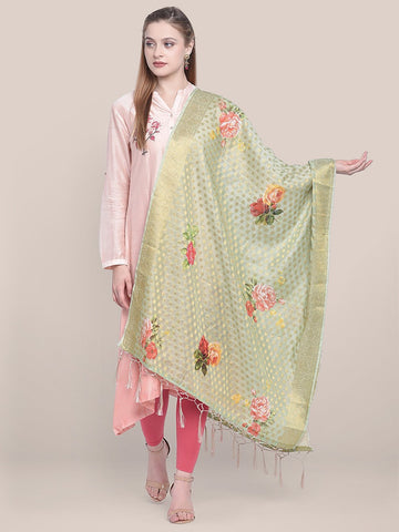 Dupatta Bazaar Woman's Green Banarasi  Dupatta with Digital Print.