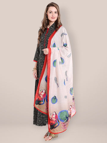 Dupatta Bazaar Women's Digital Print Cotton Satin Dupatta