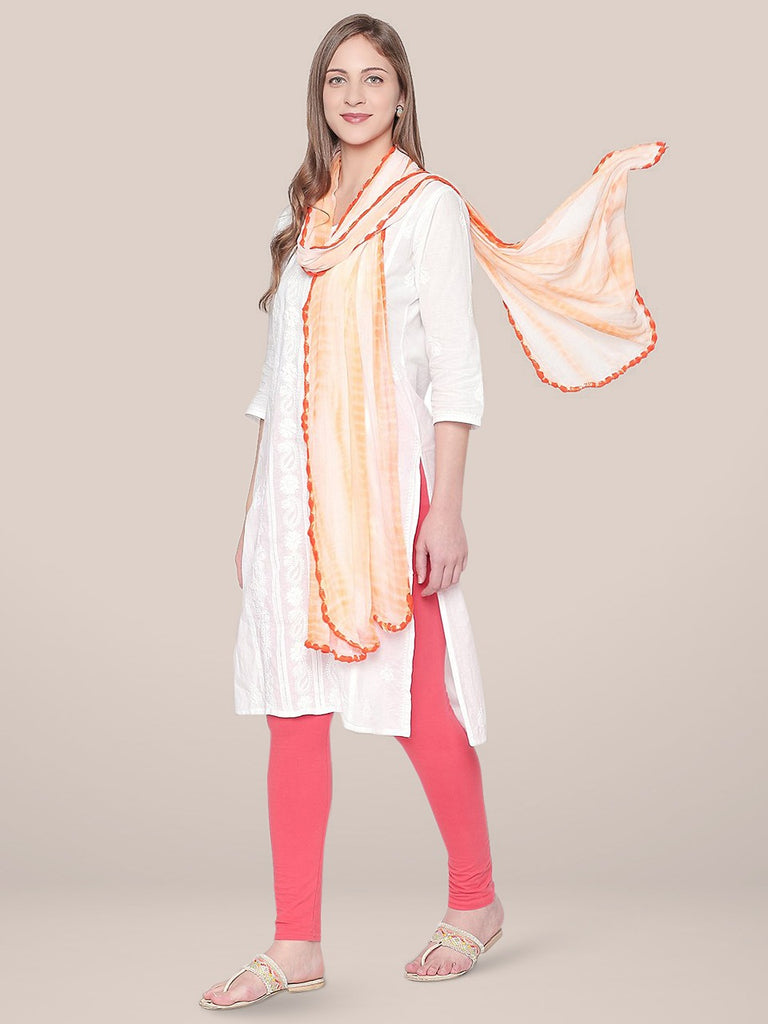 Shibori Dyed Orange & White Chiffon dupatta..