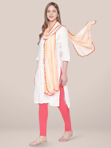 Dupatta Bazaar Woman's Shibori Dyed Orange & White Chiffon dupatta..