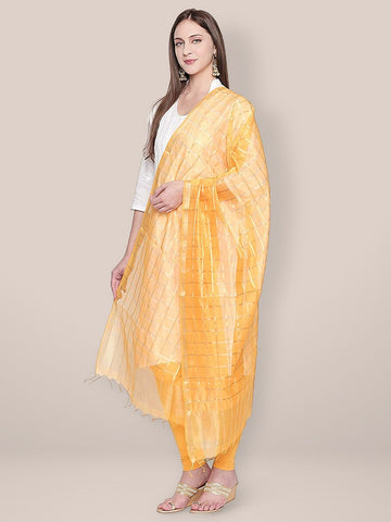 Dupatta Bazaar Woman's Yellow and Gold Blended Silk Dupatta.
