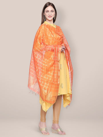 Dupatta Bazaar Woman's Orange and Gold Blended Silk Dupatta.