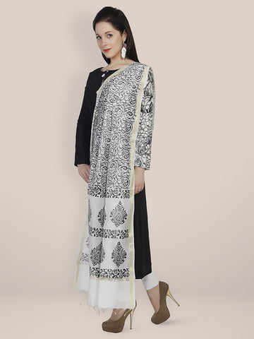 Dupatta Bazaar Women's Black and White Printed Silk Dupatta