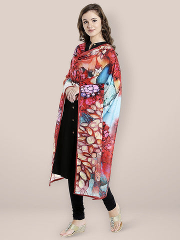 Dupatta Bazaar Woman's Multicoloured Digitally Printed Cotton Satin Dupatta