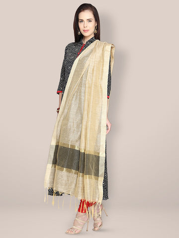 Dupatta Bazaar Woman's Gold Cotton Silk Dupatta