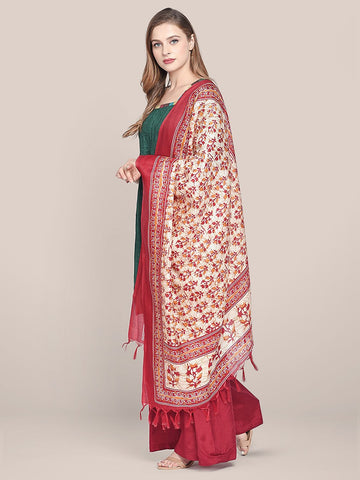 Dupatta Bazaar Women's Printed Red & Cream Art Silk Dupatta