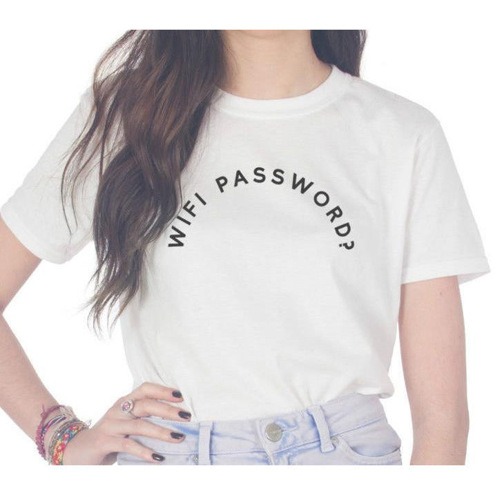 Wifi Password? White T-Shirt