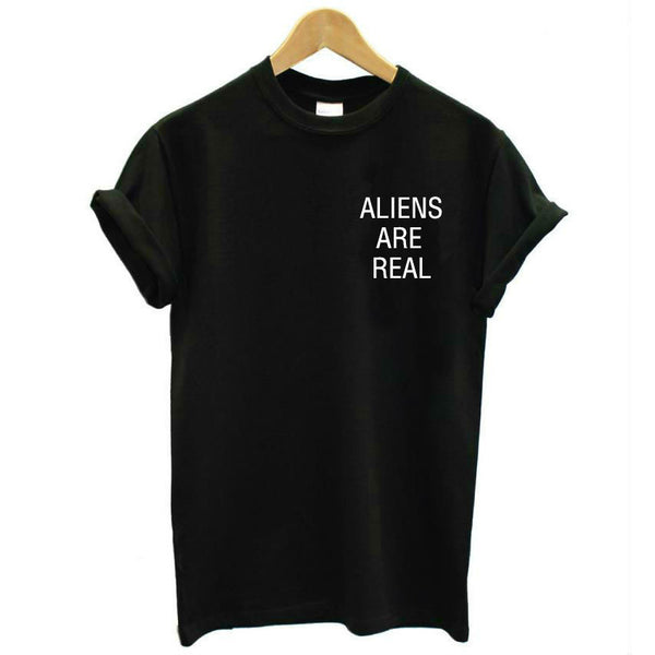 ALIENS ARE REAL Black T-Shirt