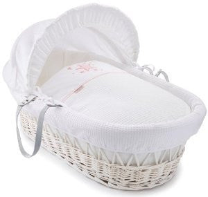 Clair De Lune - Stardust White Wicker Moses Basket - Pink
