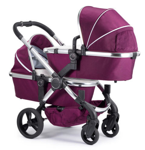 iCandy Peach Travel System Bundle Damson Twin - Chrome Chassis