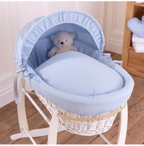 Clair De Lune - Waffle Blue - White Wicker Basket