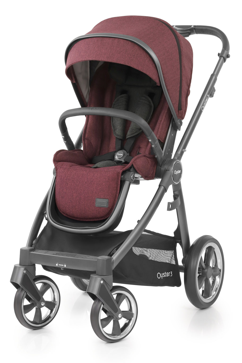 Babystyle Oyster 3 Pram Berry - City Grey Chassis