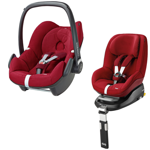 Maxi Cosi Pebble And Pearl with Familyfix Base - Robin Red