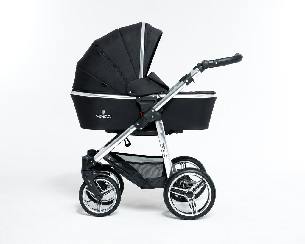 Venicci Special Edition - Black - Silver Frame With Car Seat