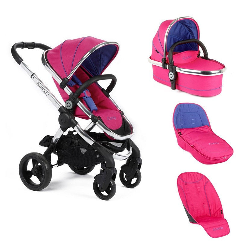 Icandy Peach Bubblegum stroller with carrycot  and accessories bundle