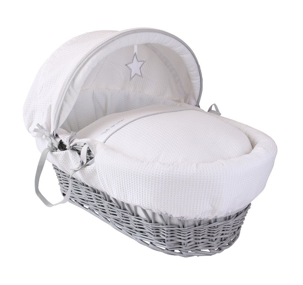 Clair De Lune - Silver Lining White Grey Wicker Moses Basket