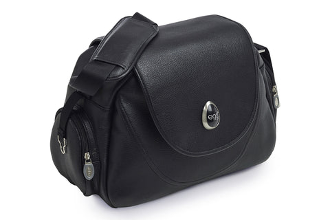 egg changing bag black leather