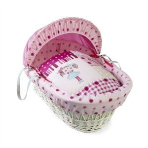 Clair De Lune - My Dolly White Wicker Moses Basket