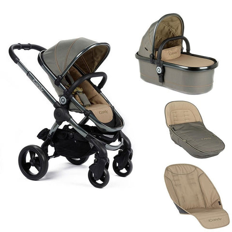 Icandy Peach Olive stroller with carrycot  and accessories bundle