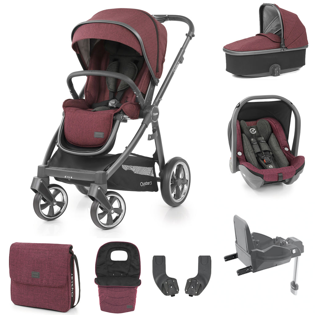 Babystyle Oyster 3 Berry Luxury 7 Piece Bundle - City Grey Chassis