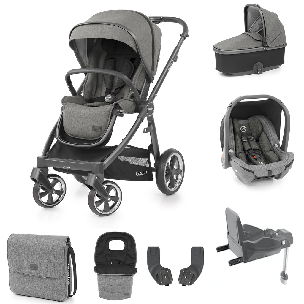Babystyle Oyster 3 Mercury Luxury 7 Piece Bundle - City Grey Chassis