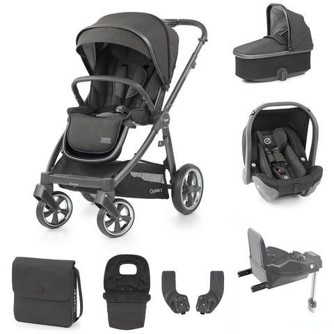Babystyle Oyster 3 Pepper Luxury 7 Piece Bundle - City Grey Chassis