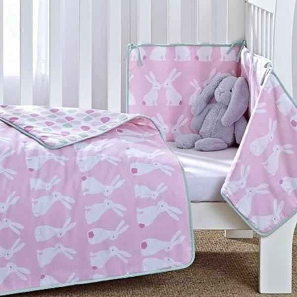 Clair De Lune - Rabbits Cotbed Quilt And Bumper Set