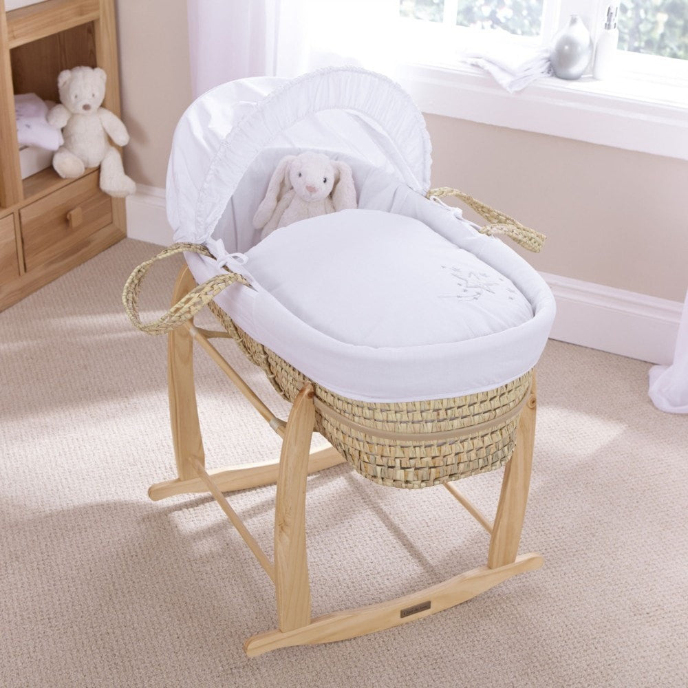 Clair De Lune - Stardust Palm Moses Basket - White