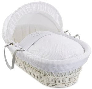 Clair De Lune - Stardust White Wicker Moses Basket - White