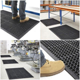 Industrial Large Heavy Duty Rubber Ring Mat Safety Floor Matting Kitchen 90x150cm ( 5' x 3' )