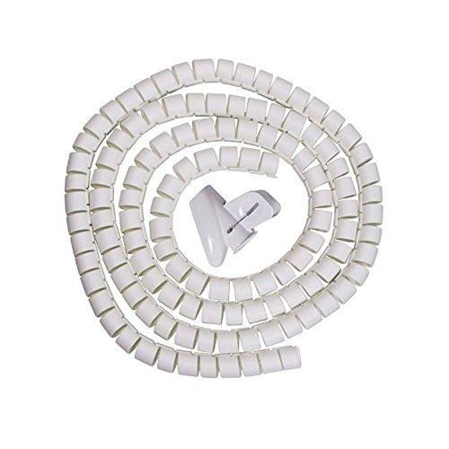 White 25mm Large Cable Wire Tidy Wrap PC Home Cinema TV Organising Kit With Feeder
