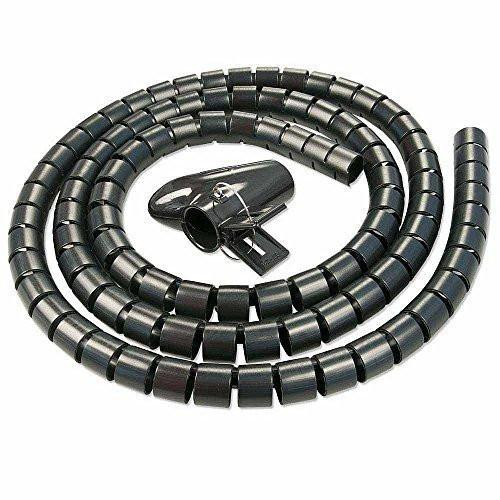 Black 25mm Large Cable Wire Tidy Wrap PC Home Cinema TV Organising Kit With Feeder