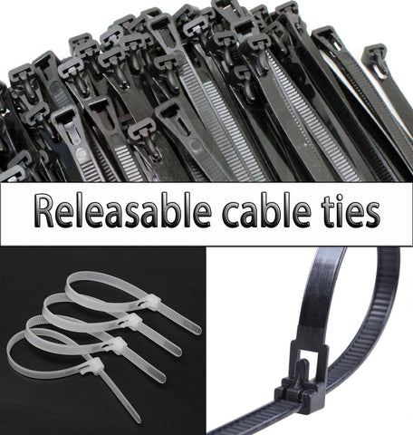 Black & White Releasable Reusable Cable ties, Tie Wrap, Cable Tidy, Zip Straps