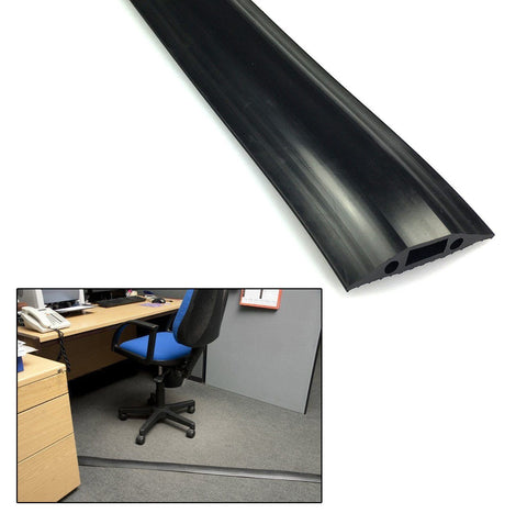 Rubber Cable Floor Cover Protector Trunking for home and office Black 67mm x12mm