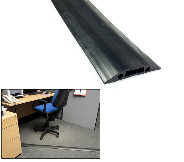 Rubber Cable Floor Cover Protector Trunking for home and office Black 82mm x12mm