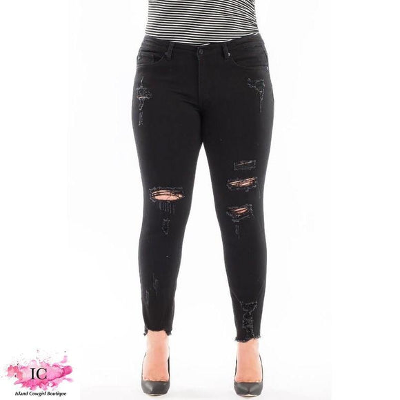Black Magic Distressed Skinny Jeans - Island Cowgirl Boutique