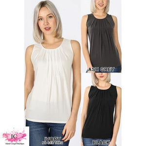 Sleeveless Pleated Top