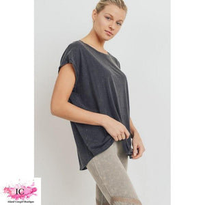 Cap-Sleeve Cut-Out Back Athleisure Top