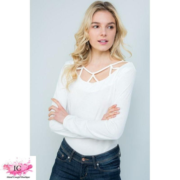 web detail, criss cross, ivory, long sleeve top, boutique top