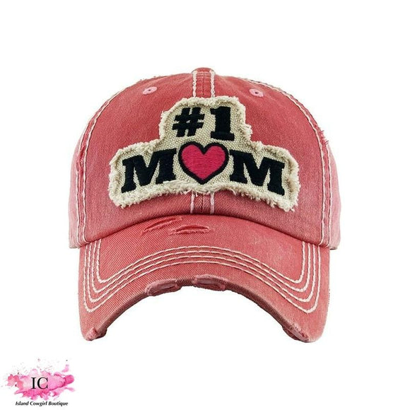 #1 Mom Vintage Distressed Baseball Hat
