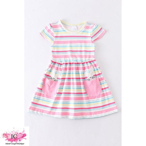 Pink Striped Bunny Dress