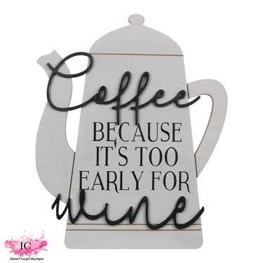 Wood Coffee Pot Wall Sign