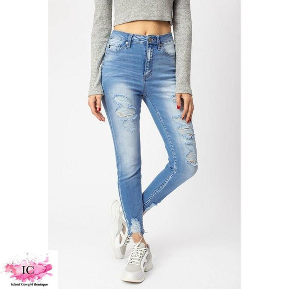 Light Denim Distressed Jeans - Island Cowgirl Boutique