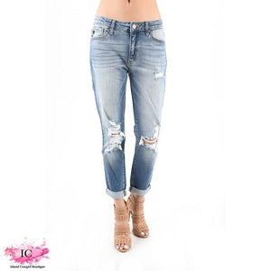 *Tess Mid-Rise Ripped & Distressed Boyfriend Jean