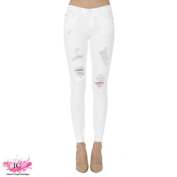 White Distressed Skinny Jeans - Island Cowgirl Boutique