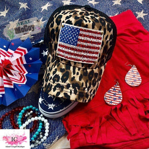 Leopard Hat with Leather Flag